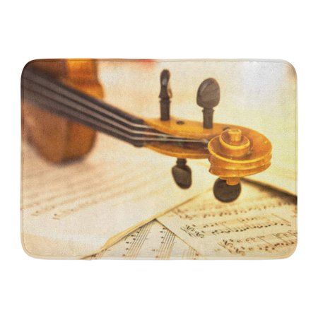 GODPOK Artistic Brown Acoustic Old Violin Lying on The Sheet of Music Concept White Antique Bow Rug Doormat Bath Mat 23.6x15.7 - Bed And Bath Store