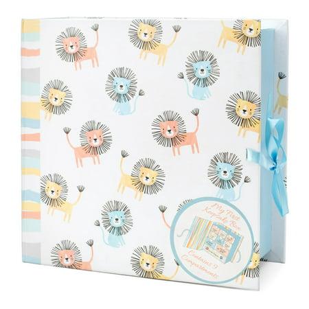 Tricoastal Design- Printed Baby Keepsake Box Baby Lions Print Baby Girl Keepsake Box