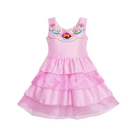 Cake Dresses (Girls Dress Embroidered Flower Tiered Cake Party Birthday Sundress)