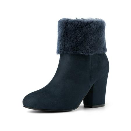 Women's Faux Fur Block Heel Round Toe Ankle Boots Navy Blue (Size - Blue Faux Fur Boots