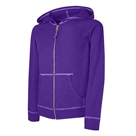 Hanes Little Girls Slub Jersey Full Zip Jacket, Purple Crush, Large - image 1 of 1