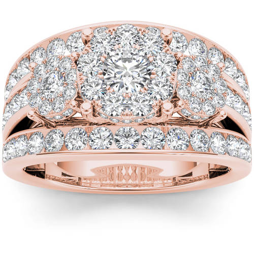 Imperial 2 Carat T.W. Diamond 10kt Rose Gold Three Round-Shaped Cluster Engagement Ring