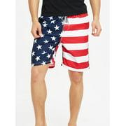 Mens Swimming Board Shorts Swim Shorts Trunks Swimwear Beach Summer Flag Printed Drawstring Waist Short Pants Knee Length