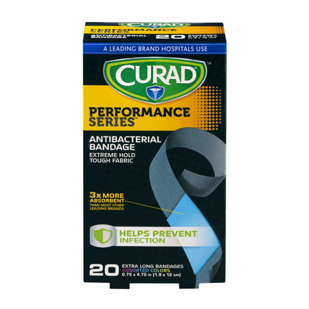 Curad Performance Series Antibacterial Bandages Extra Long
