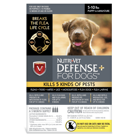 Nutri-Vet K9 Defense Plus for Dogs Flea & Tick and More Puppy 5 Pounds to 10
