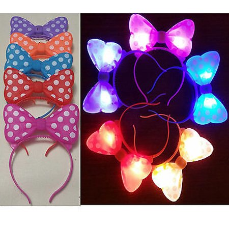 LWS LA Wholesale Store  100 PC LIGHT UP MINNIE MICKEY MOUSE EARS BOWS HEADBANDS MULTI COLOR PARTY FAVORS &  ** 10 Free miniature figures