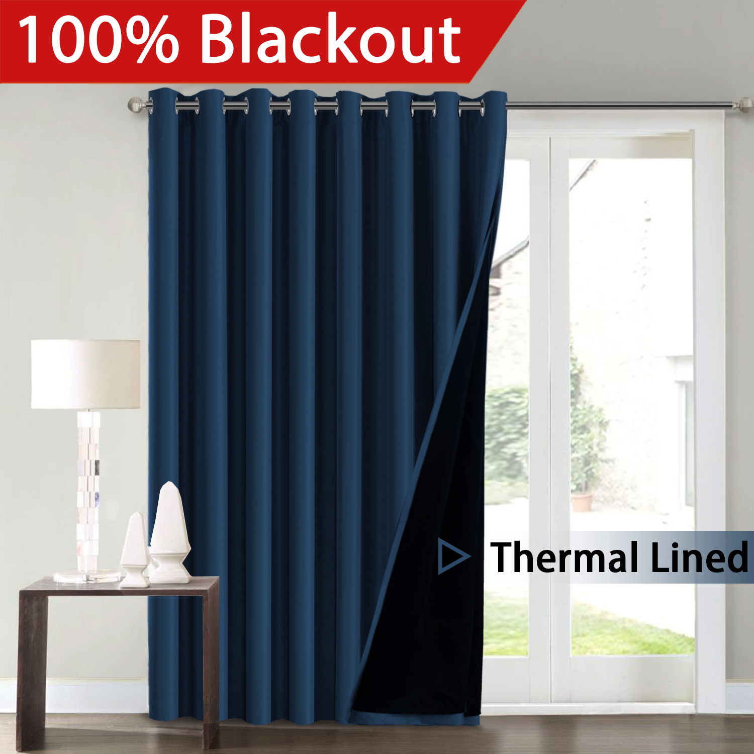 H.Versailtex Full Blackout White Wide Patio Door Curtains Faux Silk Satin with Black Liner Thermal Insulated Room... by FlamingoP
