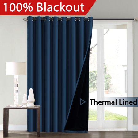 H Versailtex Full Blackout Navy Wide Patio Door Curtains Faux Silk Satin With Black Liner 100 X 96 Inch Thermal Insulated Window Treatment Panels