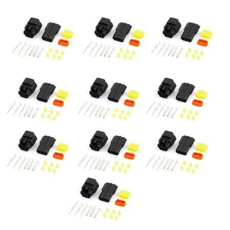 Unique Bargains 10 Kits 3 Pin Waterproof Connector 3 Way Connector Car Scooter ATV UTV