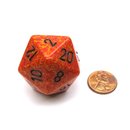 Chessex 34mm Large 20-Sided D20 Speckled Dice, 1 Die - Fire #XS2021