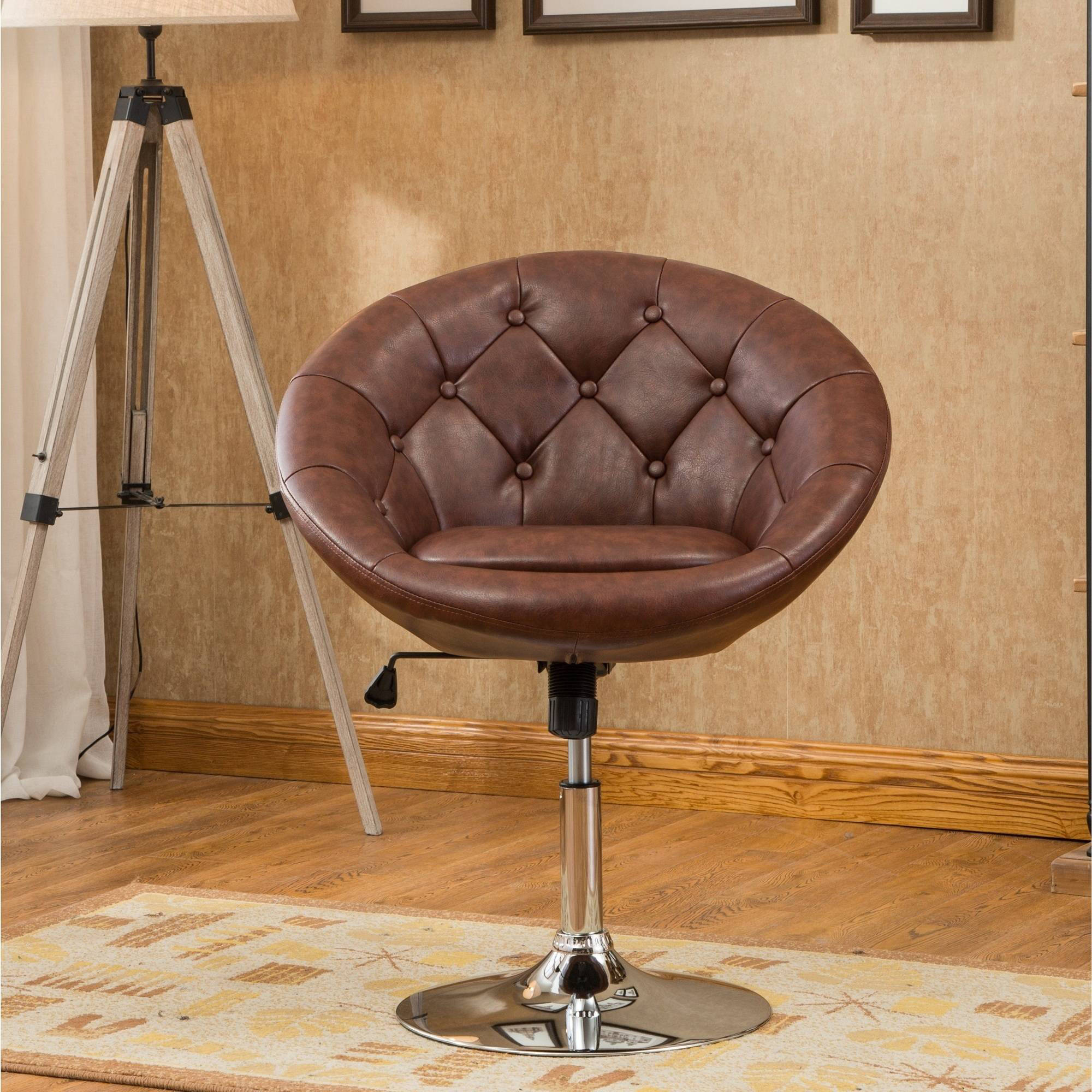 Roundhill Noas Contemporary Round Tufted Back Tilt Swiviel Accent Chair, Multiple Colors Available by Roundhill