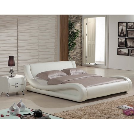 US Pride Furniture Dona Contemporary Faux Leather Platform Bed, White, California King ()