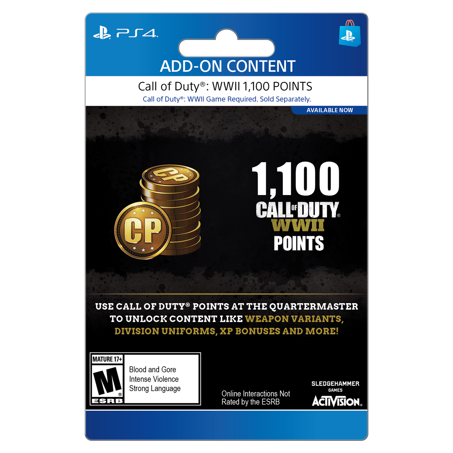 Call of Duty WWII: 1100 COD Points Pack, Activision, Playstation 4, [Digital Download], 799366543763