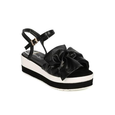 7a4b4d1a360a Nature Breeze - Women Leatherette Open Toe Bow Tie Platform Wedge Sandal  GH61 - Walmart.com