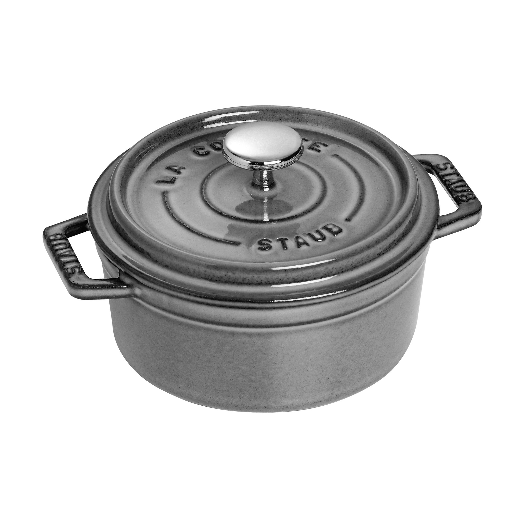 Staub Cast Iron 0.5-qt Round Cocotte - Matte Black