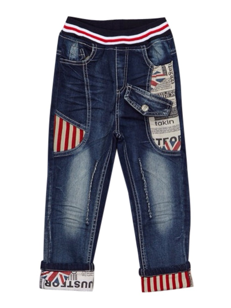 Rock'nStyle Boys Dark Blue British Flag Stripe Denim Pants 2-7T