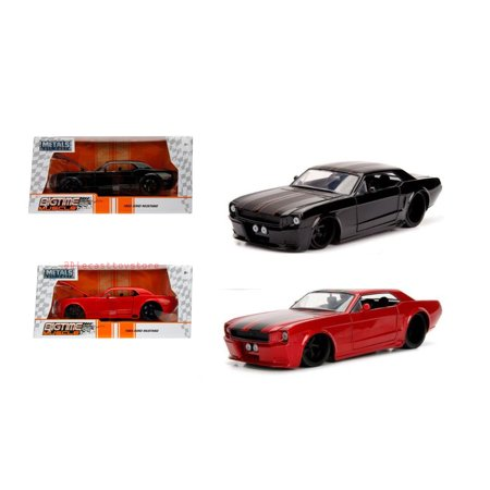 1965 Ford Mustang Specs - JADA 1:24 W/B - METALS - BIGTIME MUSCLE - 1965 FORD MUSTANG (MATTE BLACK, RED) SET OF 2 99967-WA1