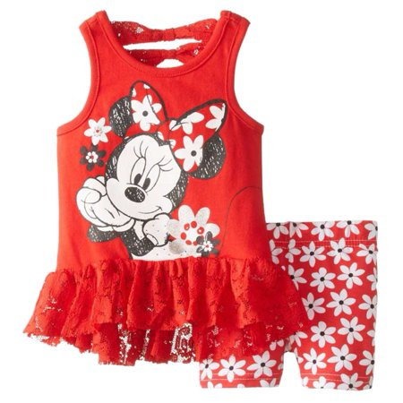 Disney Infant Girls Minnie Mouse 2 PC Red Flower Shirt & Shorts Outfit 12m