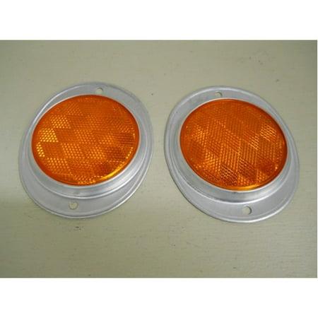 "(2) Amber 3"" Round Truck Semi Trailer Mail Box Reflex Reflectors / Aluminum Base"