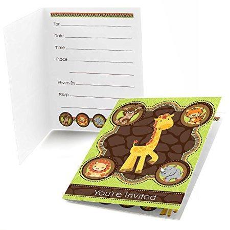 Funfari - Fun Safari Jungle - Fill In Baby Shower or Birthday Invitations - Set of 24 - Fun Halloween Invitations