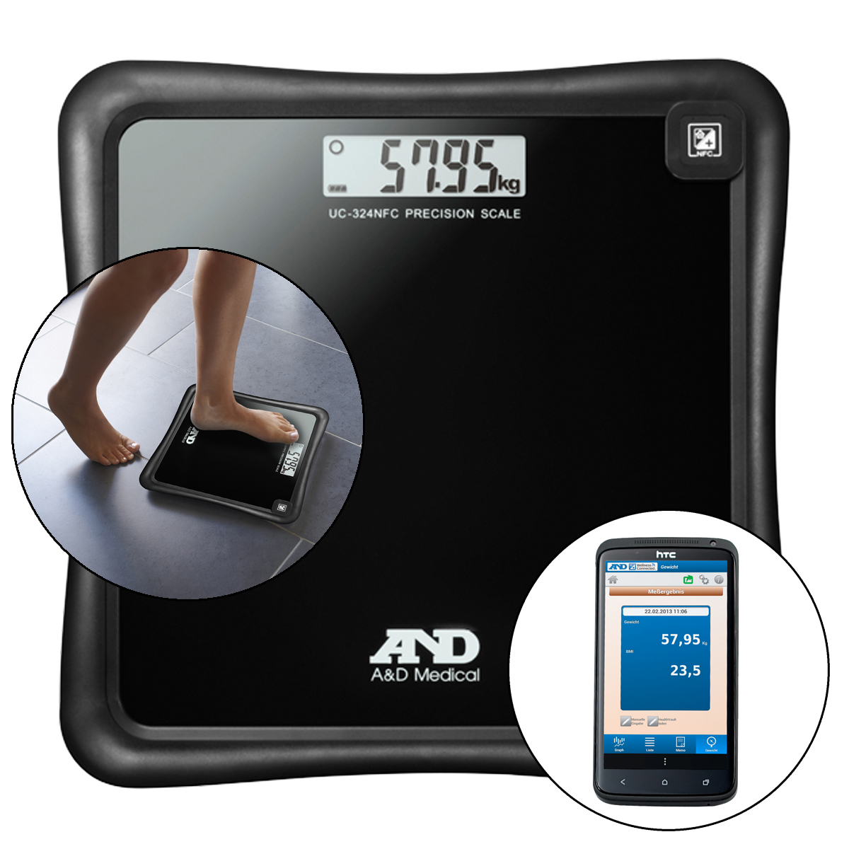 A&D Medical Precision Health Scale UC-324NFC with Wireless Smartphone Connection