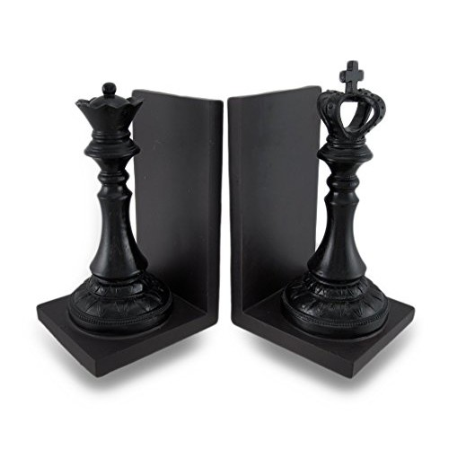 Deco 79 Polystone King and Queen Chess Bookend Pair, 5 by 8-Inch, Walnut Brown Black by UMA Enterprises, Inc.