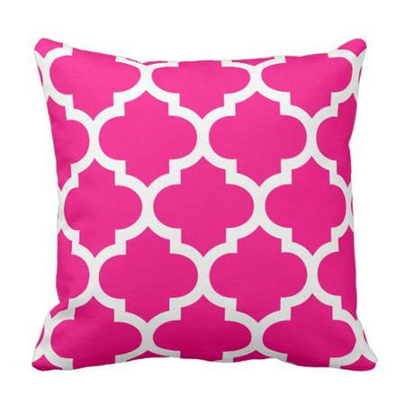 ARTJIA Colorful Garden Hot Pink Moroccan Patio Pillowcase Cover 16x16 inch