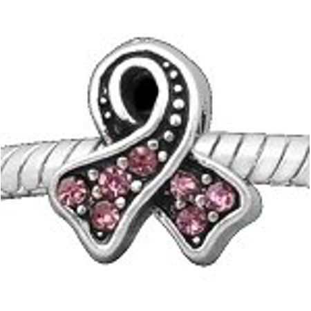 Buckets of Beads Stones Breast Cancer Awareness Charm Bead, Rose