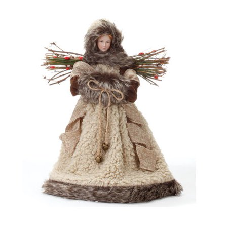 125 woodland inspired natural brown angel christmas tree topper unlit - Angel Christmas Tree