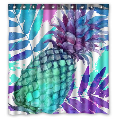 YKCG Tropical Fruit Vintage Pineapples Waterproof Fabric Bathroom Shower Curtain 66x72 inches ()
