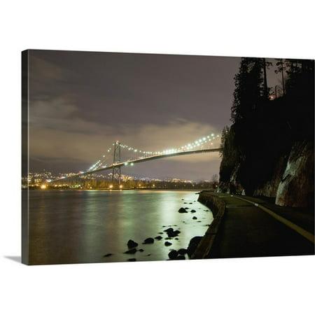Great BIG Canvas Paul Colangelo Premium Thick-Wrap Canvas entitled Lions Gate Bridge, Stanley Park, British Columbia