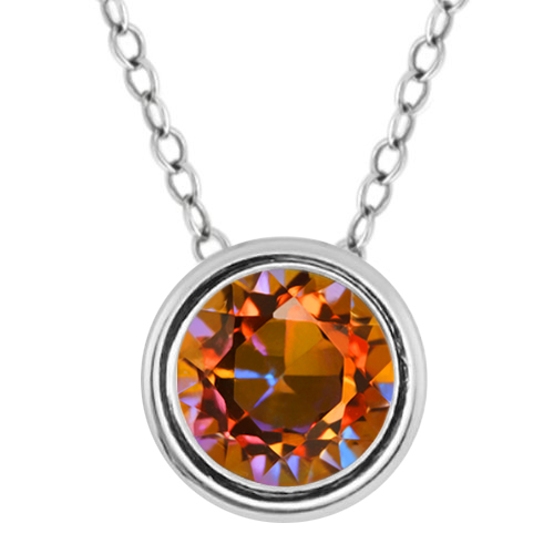 """0.95 Ct Round Ecstasy Mystic Topaz 925 Sterling Silver Pendant With 18"""" Chain"""