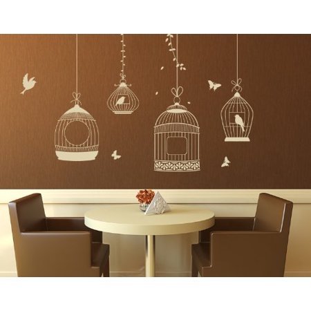 Bird Cages Wall Decal - wall decal, sticker, mural vinyl art home decor - 4464 - White, 24in x 21in (Gold Birdcage)