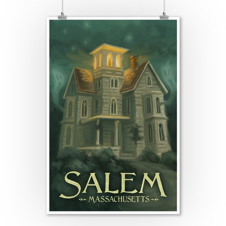 Salem, Massachusetts - Haunted House - Halloween Oil Painting - Lantern Press Artwork (9x12 Art Print, Wall Decor Travel Poster)