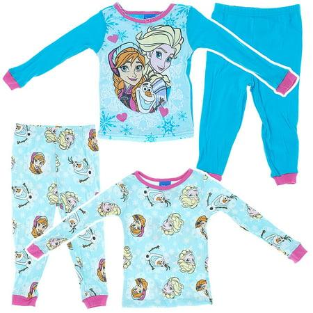 f119c331a Disney - Frozen Elsa Olaf Anna 2-Pack Cotton Little Girls Pajamas ...