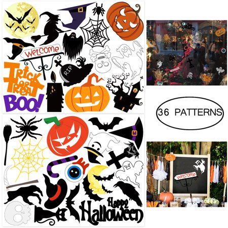 Tinksky 2 Sheets Halloween Sticker 35-Patterns Trick or Treat Stickers Decals Sheet Removable for Halloween Party Favors (Halloween Bend Or)