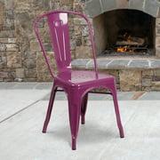 Flash Furniture Commercial Grade Purple Metal Indoor-Outdoor Stackable Chair [ET-3534-PUR-GG]