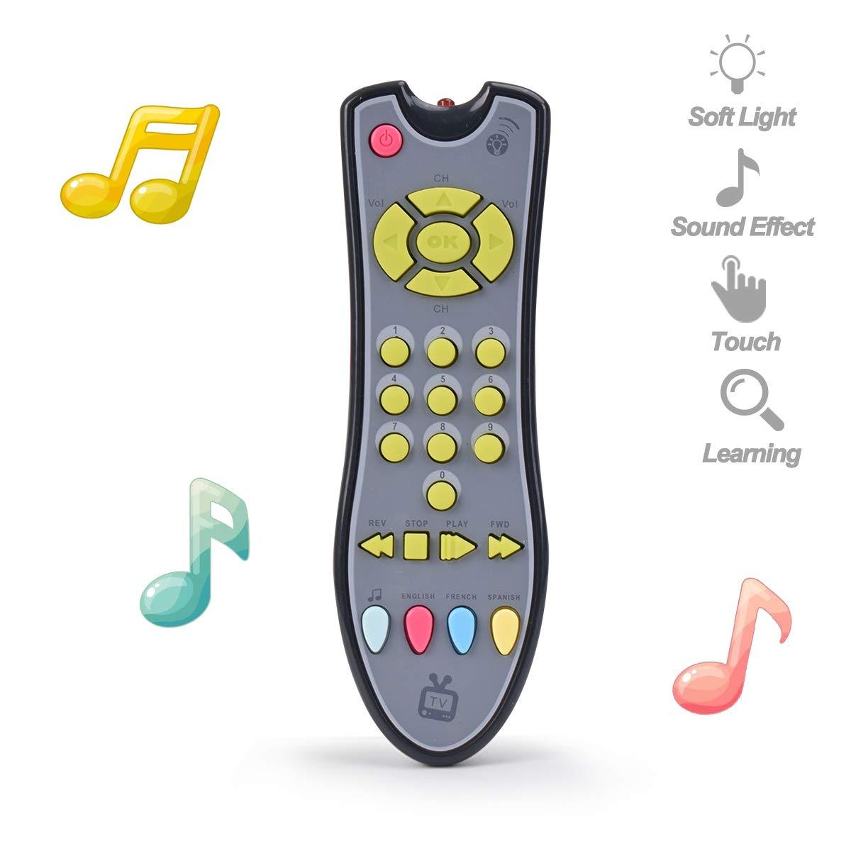 Toddlers Boys or Girls Preschool Education//Three Language Modes English French and Spanish//Black Body,Colored Buttons DUDU TV Remote Control Toy//Musical Play with Light and Sound//for 6 Months