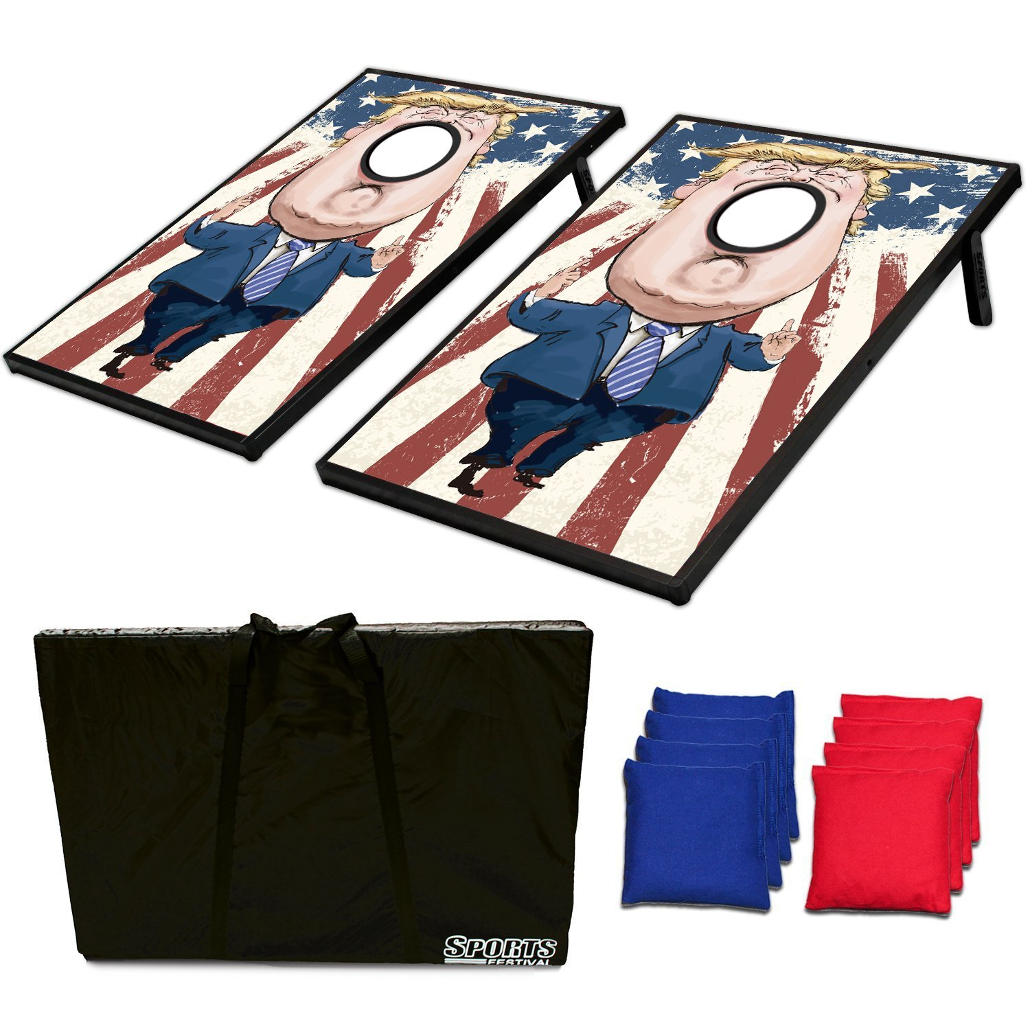 Cornhole Beanbag Toss Game and Tic Tac Toe Donald Trump by Zhejiang Phelps Lighting Technology Co., Ltd.