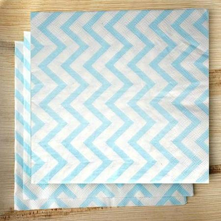 Efavormart Chevron Printed Restaurant Party Beverage Paper Napkins- Light Blue and White -20 PCS