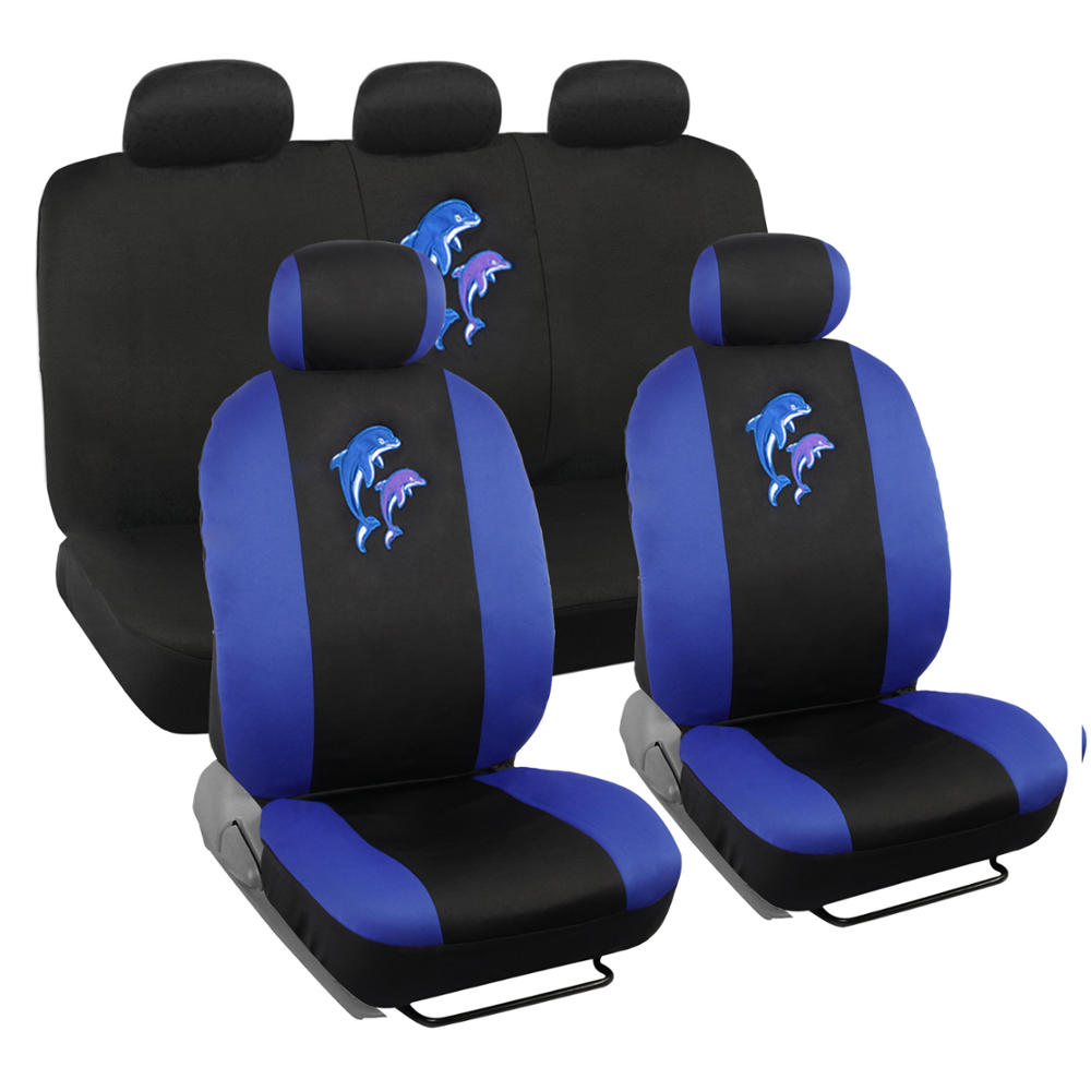 BDK Blue Dolphin Design Seat Covers for Car, SUV, Van and Truck, 9pc