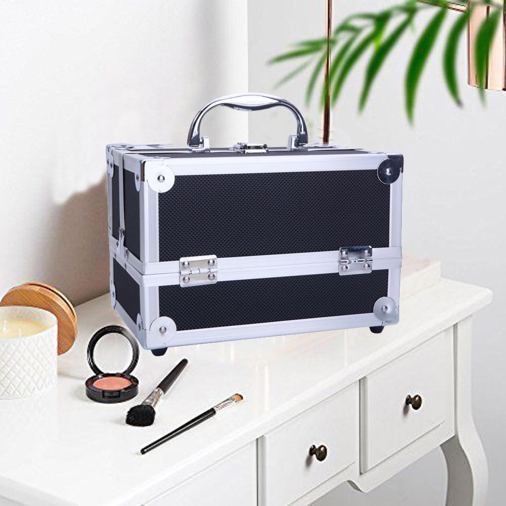 Zimtown Pro Aluminum Makeup Train Jewelry Storage Box Cosmetic Lockable Case Organizer