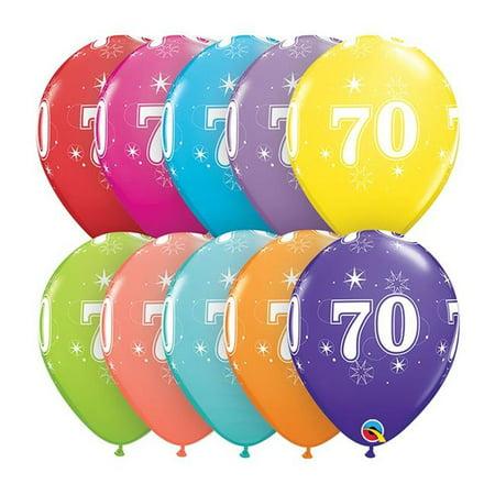 Qualatex 85940 11 in. 70th Birthday A Round Latex Balloon](Happy 70th Birthday Balloons)
