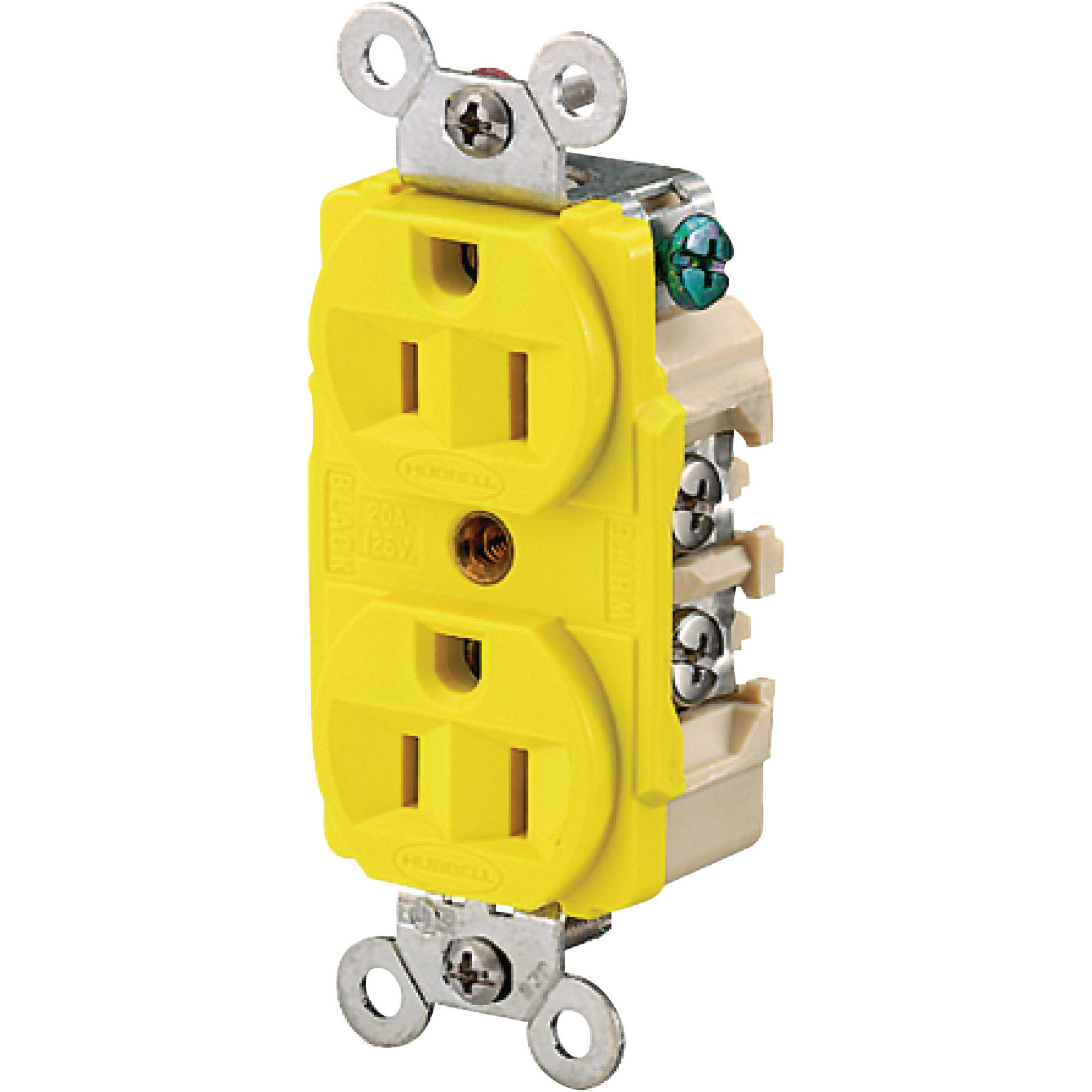 Hubbell HBL52CM62 Yellow 15A 125V Heat & Corrosion Resistant Duplex Receptacle