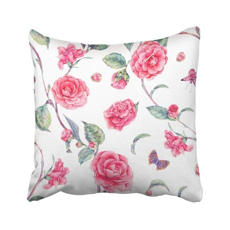 BPBOP Vintage Garden Watercolor Natural With Pink Flowers Camellia And Butterflies Botanical Pillowcase Throw Pillow Cover 18x18 inches (Butterfly Garden Pillow)