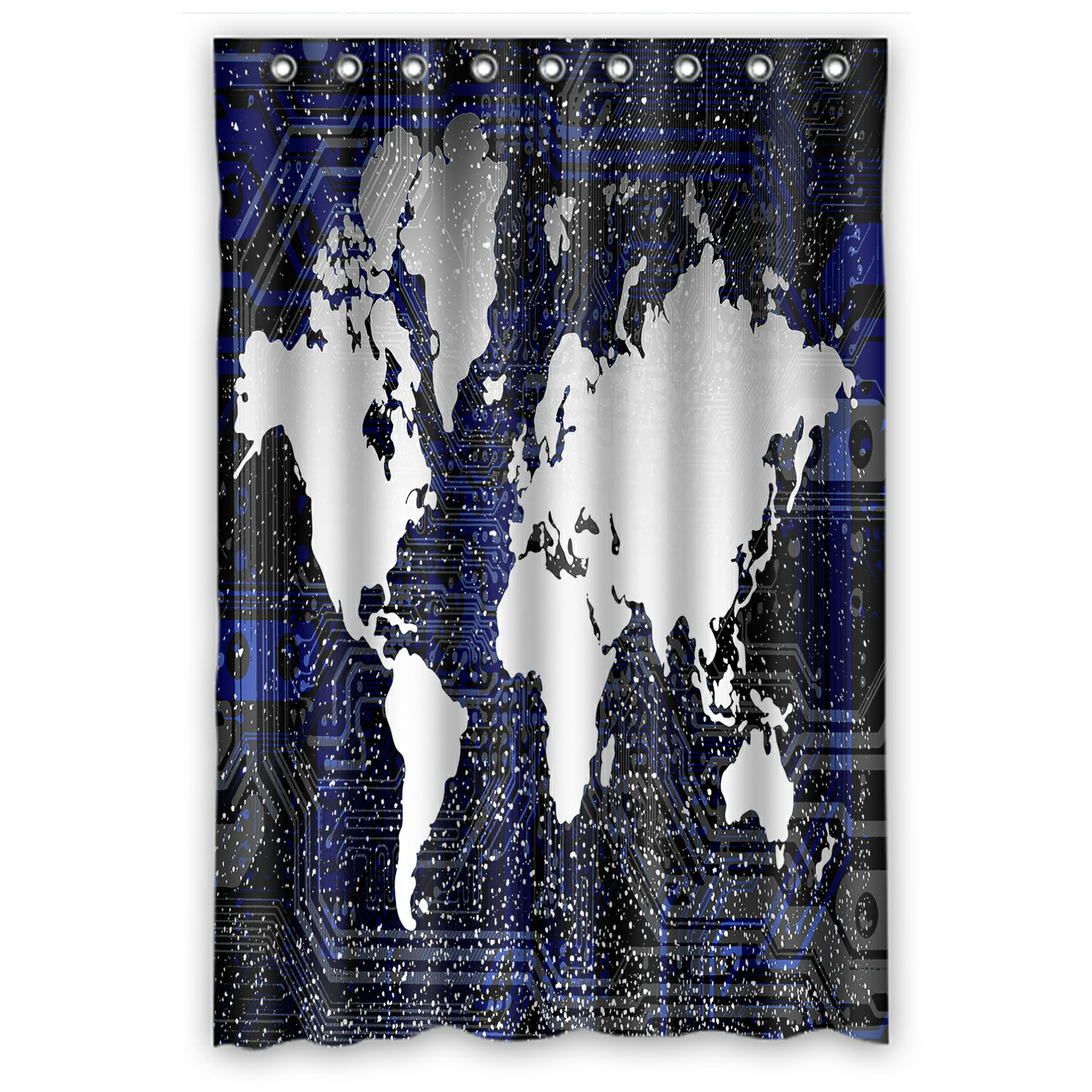 Phfzk Earth Shower Curtain World Map Polyester Fabric Bathroom Shower Curtain 48x72 Inches