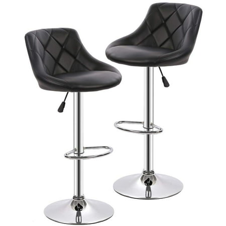 Bar Stools Barstools Swivel Stool Set of 2 Height Adjustable Bar Chairs with Back PU Leather Swivel Bar Stool Kitchen Counter Stools Dining Chairs ()