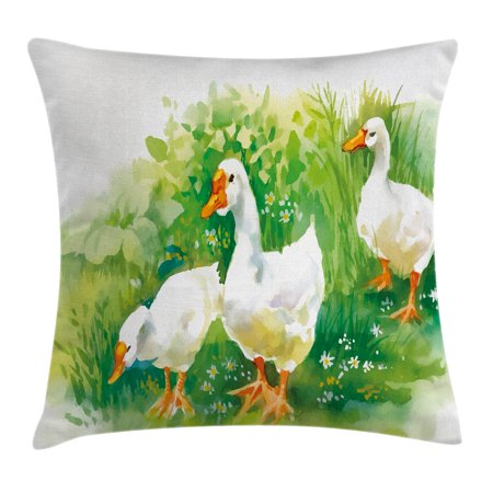 Duck Throw Pillow Cushion Cover, Goose in Farm Lake Plants Grass Reeds Flowers Pond Animals Geese Feathers Life, Decorative Square Accent Pillow Case, 18 X 18 Inches, Green and White, - Decorative Grass