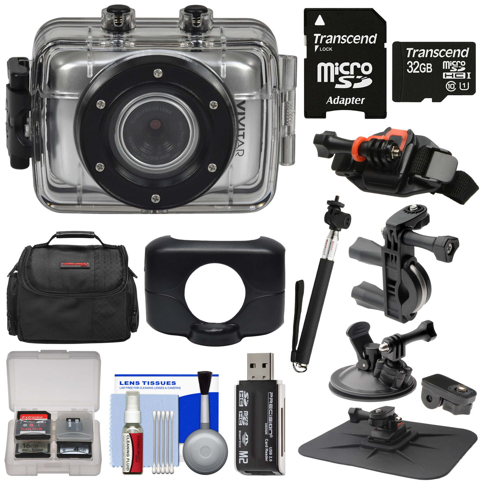 Vivitar DVR781HD HD Waterproof Action Video Camera Camcorder (Silver) + 32GB Card + Suction Cup, Helmet, Bike & Dashboard Mounts + Case + Selfie Stick Kit