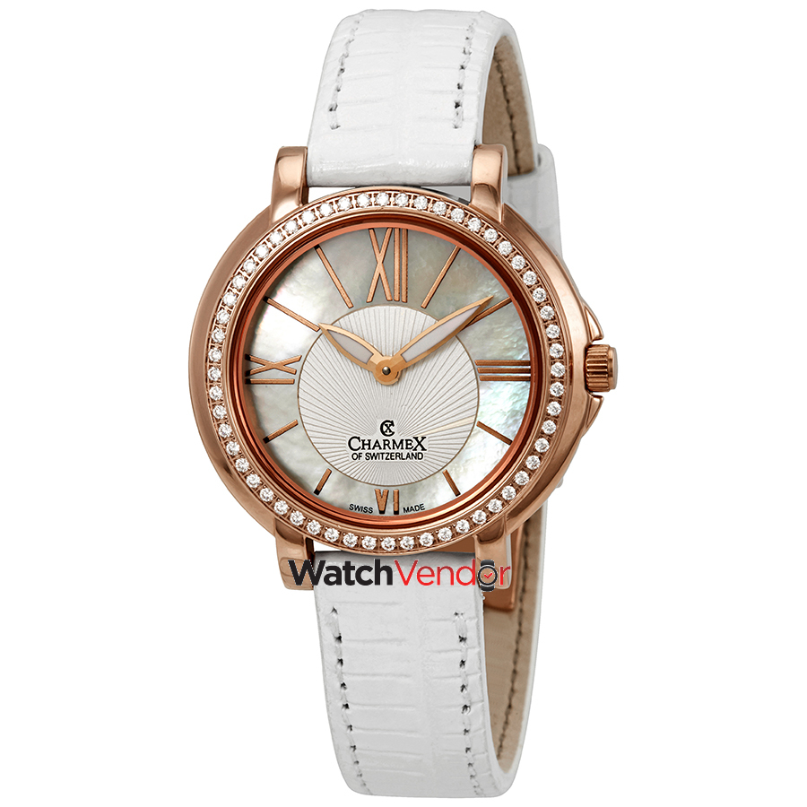 Charmex Malibu Crystal White Dial White Leather Ladies Watch 6415 - image 3 of 3